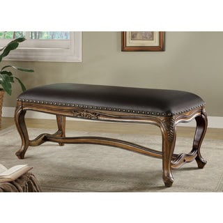 Black Faux Leather Upholstered Bench