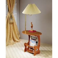 Coaster Company Brass and Oak Magazine Table with Built-In Lamp