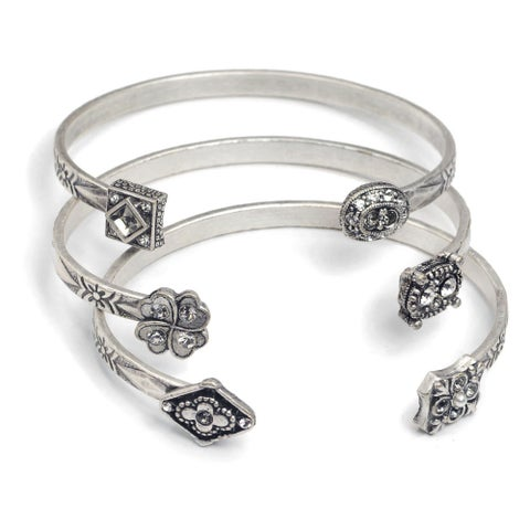 Sweet Romance Victorian Elements Antiqued Brass Cuff Bracelets (Pack of 3)