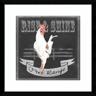 Framed Art Print 'Chalkboard Farm Animals II Rise and Shine Rooster' by Redstreake 17 x 17-inch