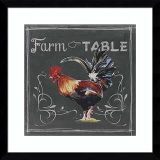 Framed Art Print 'Chalkboard Farm Animals III Farm to Table Rooster' by Redstreake 17 x 17-inch