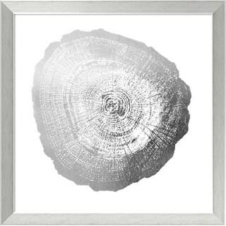 Framed Art Print 'Silver Foil Tree Ring IV Metallic Print' by Vision Studio 20 x 20-inch