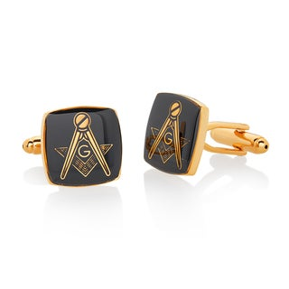Men's Gold Tone High Polished Masonic Shield Cufflinks