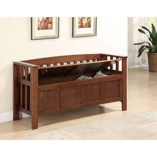 Flip Top Brown Wood Storage Bench