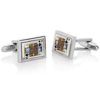 Men's High Polished King of Spades Cufflinks