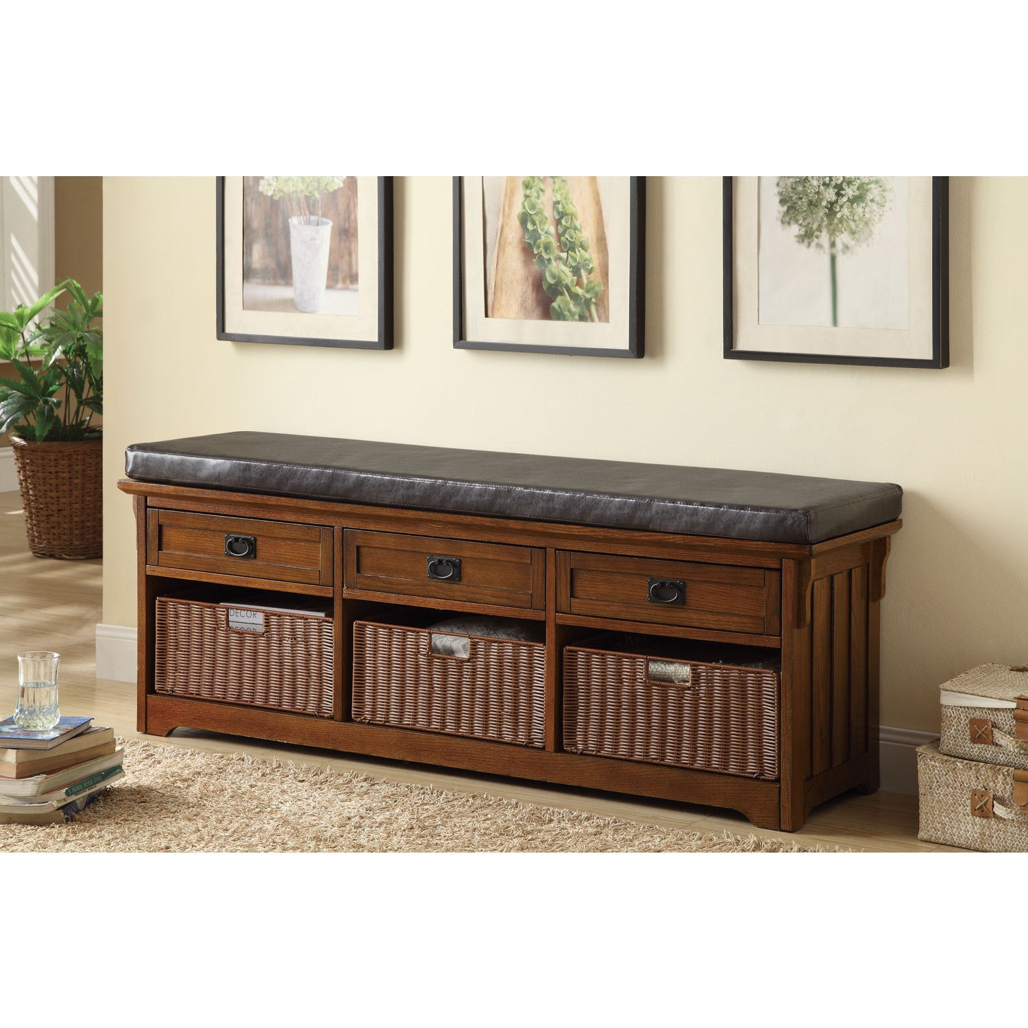 Coaster Furniture Mission style Oak finish wood bedroom entry bench with storage basket and drawers