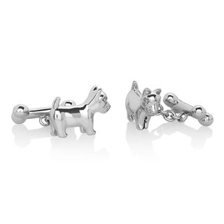 Men's High Polished Silver Tone Dog and Bone Cufflinks