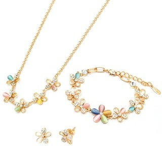 18k Goldplated Mother of Pearl and Austrian Crystal Flower Jewelry Set