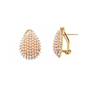 18k Goldplated Rose Pearl and Crystal Teardrop Earrings