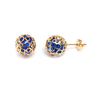 18k Goldplated Blue Austrian Crystal 10mm Cage Stud Earrings