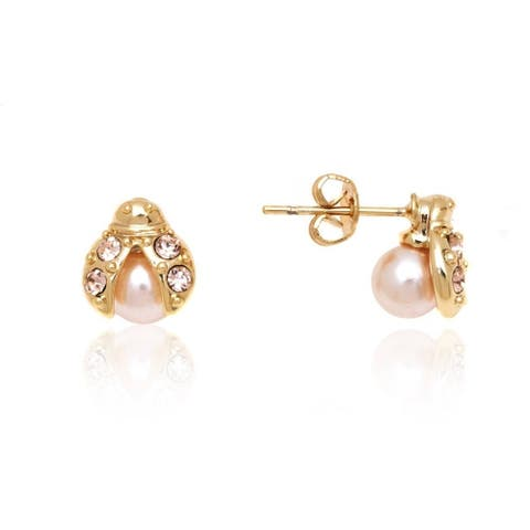 Goldplated Rose Gold and Pearl Ladybug Stud Earrings - Pink