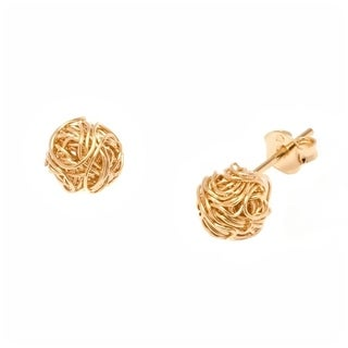 18k Goldplated 10mm Wire Love Knot Stud Earrings