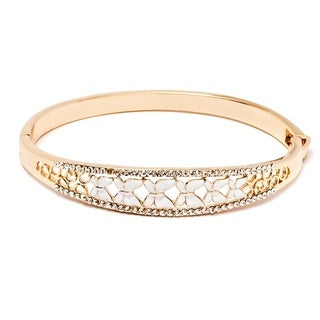 Goldplated Austrian Crystal White Butterfly Enamel Bangle