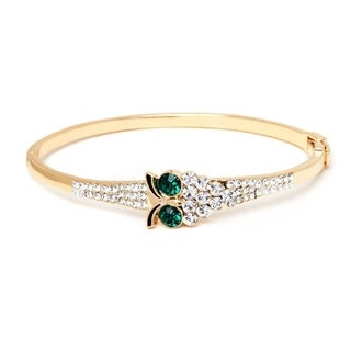 Goldplated Emerald Austrian Crystal Owl Bangle Bracelet