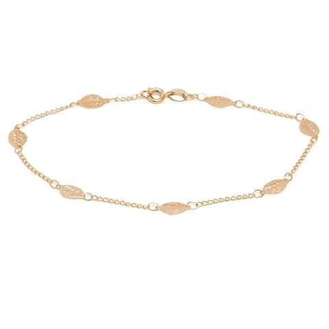 Goldplated Leaf Link Ankle Bracelet