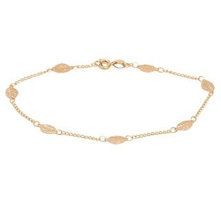Goldplated Leaf Link Ankle Bracelet