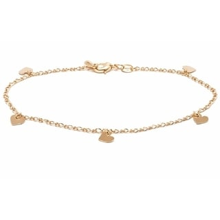 18k Goldplated Heart Charm Anklet