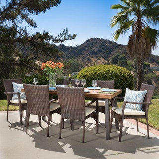 Cordella Outdoor 7-piece Wood Dining Set with Cushions by Christopher Knight Home