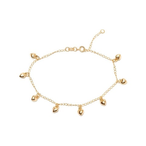 Goldplated Heart Charm Anklet - Gold