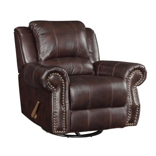 Coaster Company Brown Vinyl Swivel Recliner
