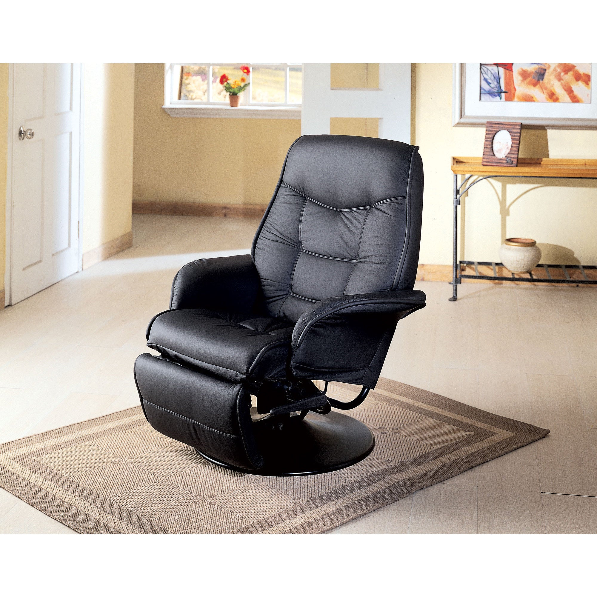 Coaster Furniture Berri Leatherette Swivel Recliner in Black by Coaster - 7501