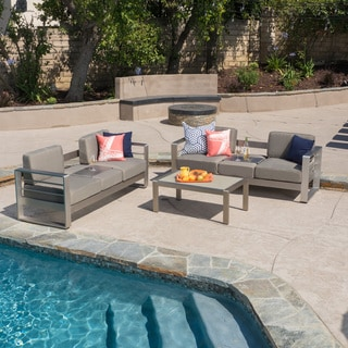 Christopher Knight Home Cape Coral Outdoor Aluminum 3-piece Sofa Set with Cushions
