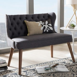Baxton Studio Efthalia Mid-Century Modern Wood and Fabric Upholstered Button-Tufting Loveseat