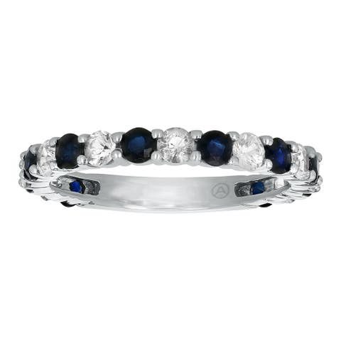 14k White Gold 1.5 carat Blue and White Sapphires Semi-Eternity Band Ring by Beverly Hills Charm