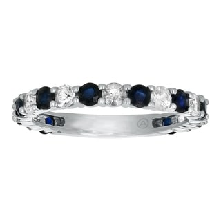 Beverly Hills Charm 14k White Gold 1 1/2ct TGW Blue and White Sapphire Stackable Anniversary Band Ring