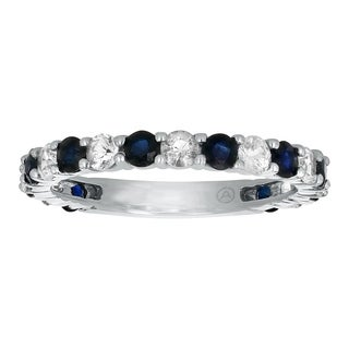 14k White Gold 1.5 carat Blue and White Sapphires Semi-Eternity Band Ring