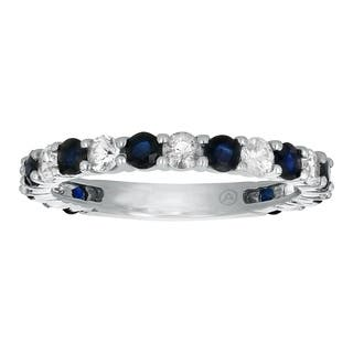 14k White Gold 1.5 carat Blue and White Sapphires Semi-Eternity Band Ring|https://ak1.ostkcdn.com/images/products/12229550/P19073649.jpg?impolicy=medium