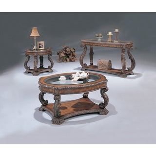Coaster Company Hand-Carved Wooden and Glass End Table