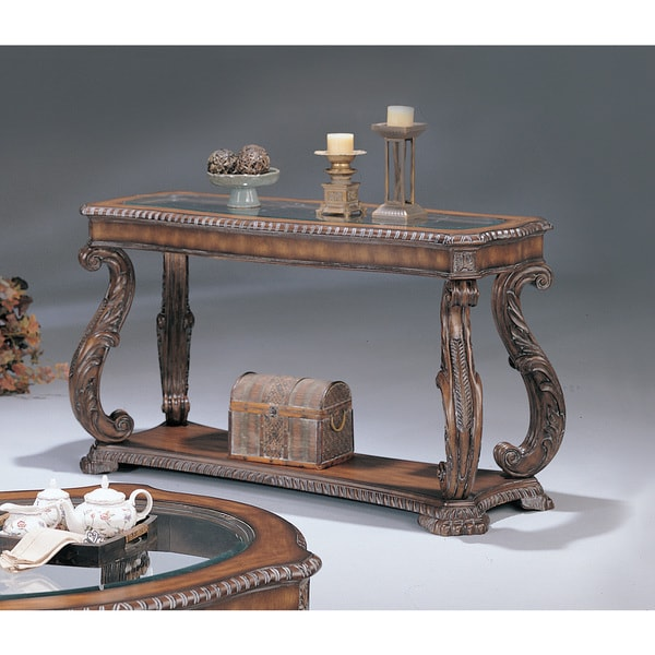 Coaster Company Antiqued Brown Finish Wood With Gl Inlay Ornate Sofa Table