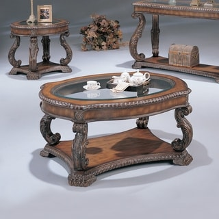 nailhead/ wood inlay coffee table - free shipping today
