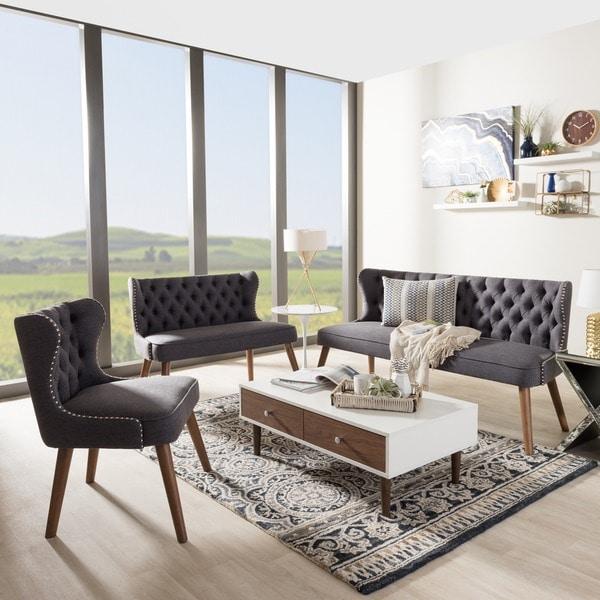 Baxton Studio Efthalia Mid Century Upholstered Tufted Living Room Sofa Set