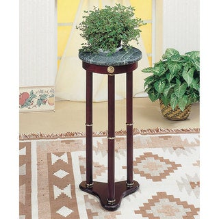 Coaster Company Green Marble Top Cherry Finish Wood Round Plant Stand