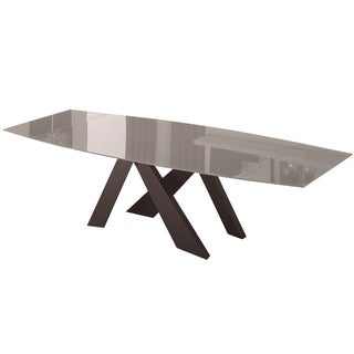 Casabianca Home Zara Collection Black Base Light Grey Glass Dining Table
