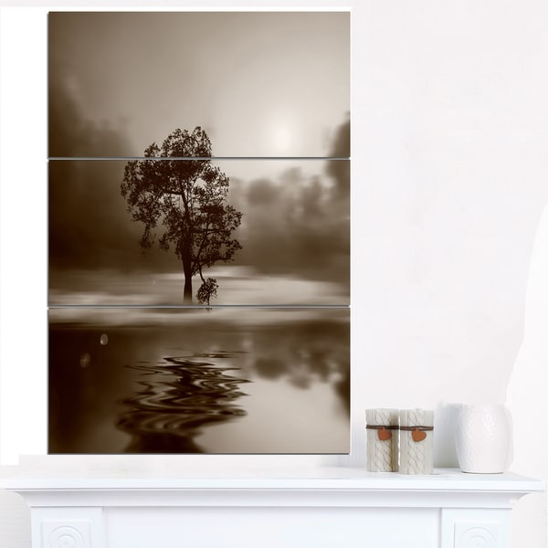 Shop Alone Tree on Island in Sepia - Extra Large Wall Art Landscape ...