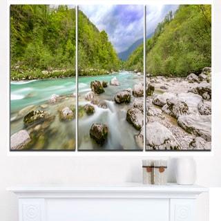 Slovenia Waterfall Panorama - Landscape Artwork Canvas