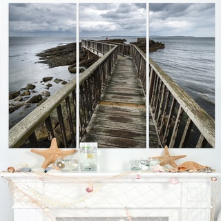 Wooden Pier on North Irish Coastline - Sea Bridge Canvas Wall Artwork