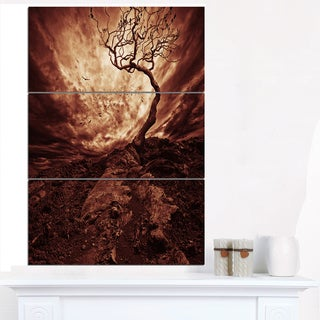Dramatic White Sun over Lone Tree - Extra Large Wall Art Landscape
