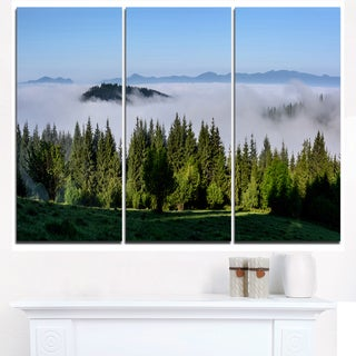 Green Trees and Fog Over Mountains - Landscape Art Print Canvas