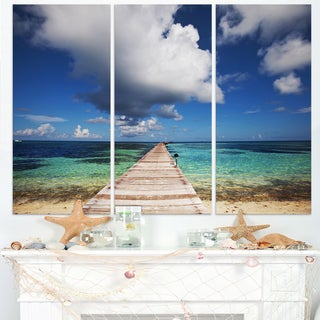 Long Pier into Serene Maldives Ocean - Large Sea Bridge Canvas Art Print