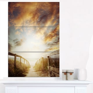 Walkway Leading to Beach Scene - Sea Bridge Canvas Wall Artwork