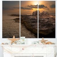 Rocky Coast with Ancient Ruins - Oversized Beach Canvas Artwork
