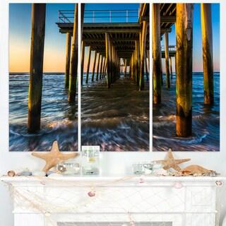 Fishing Pier and Waves at Atlantic Sea - Sea Pier and Bridge Wall Art Canvas