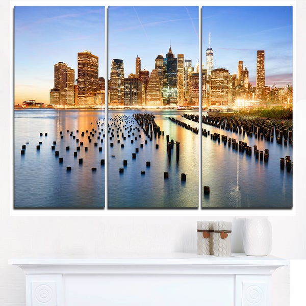 Illuminated New York Skyscrapers - Cityscape Canvas print