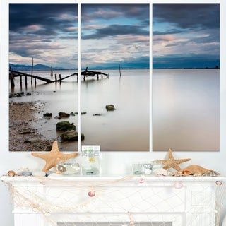Magic Sunrise with Old Wooden Pier - Sea Pier and Bridge Wall Art Canvas