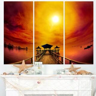 Exotic Wood Pier under Yellow Sun - Sea Bridge Canvas Wall Artwork