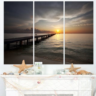 Long Boardwalk into the Sunset Sea - Large Sea Bridge Canvas Art Print